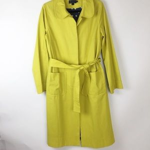 Boden yellow green trench rain belted coat